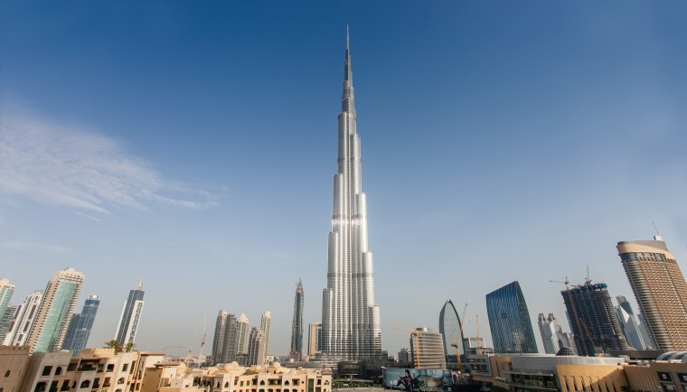 the Burj Khalifa in Dubai  view panoramic